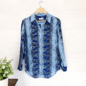 Equipment Blue Python Print Button Up Blouse